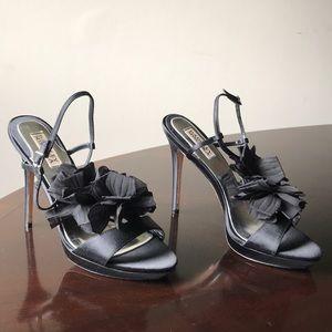Badgley Mischka Black Velvet Bun 10M Open Toe Heel